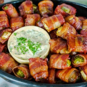 bacon wrapped brussels sprouts in bowl
