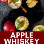 apple whiskey smash in glass