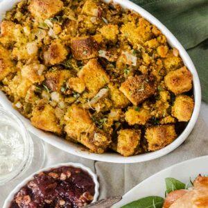 gluten free cornbread stuffing in serving dish