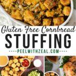 collage of gluten free cornbread stuffing