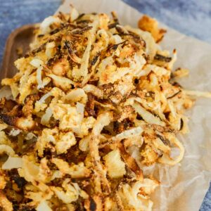 gluten fried onions on parchment paper