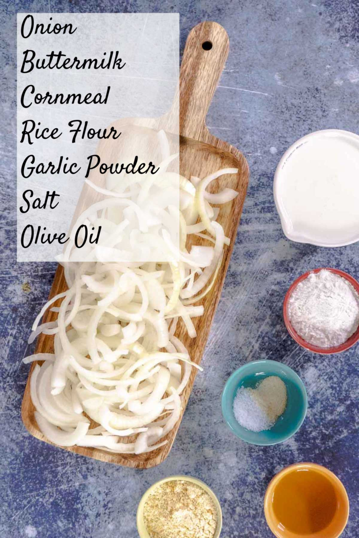 ingredients for GF fried onions on counter