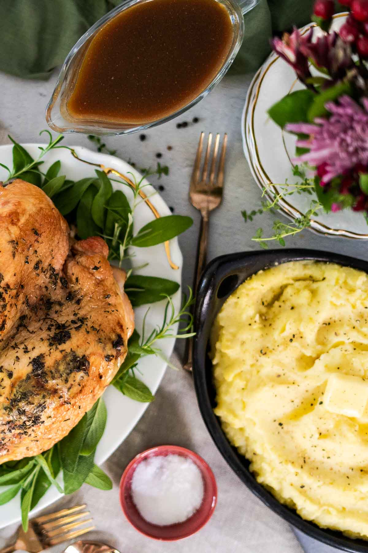 thanksgiving table with small turkey and small mashed potatoes