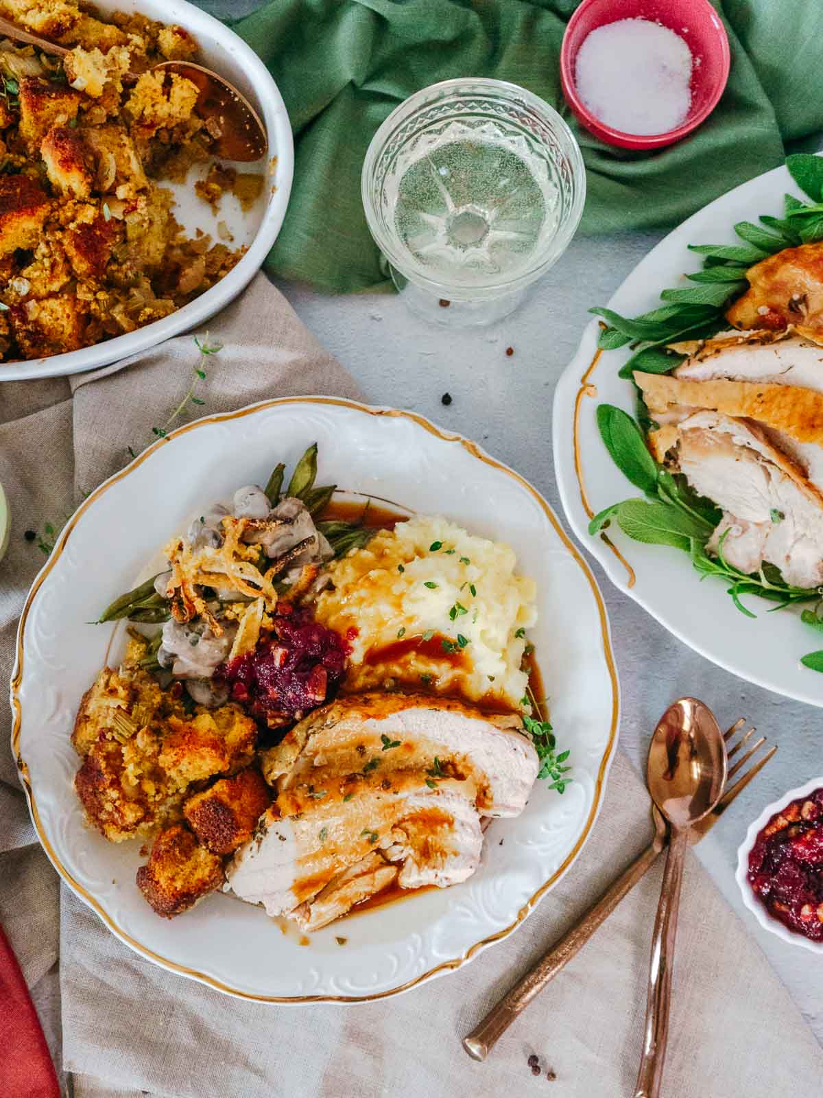 overhead shot of thanksgiving plates filled with food