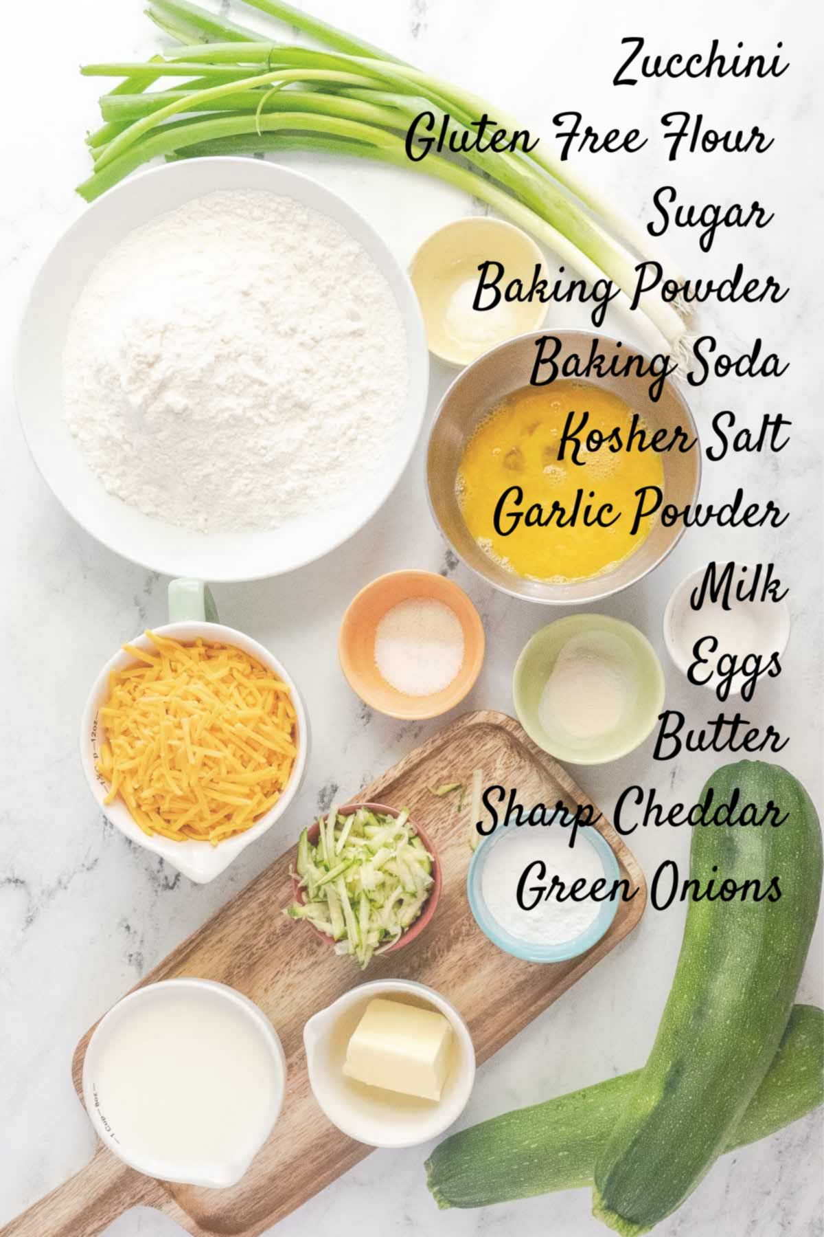 gluten free zucchini bread ingredients on a counter