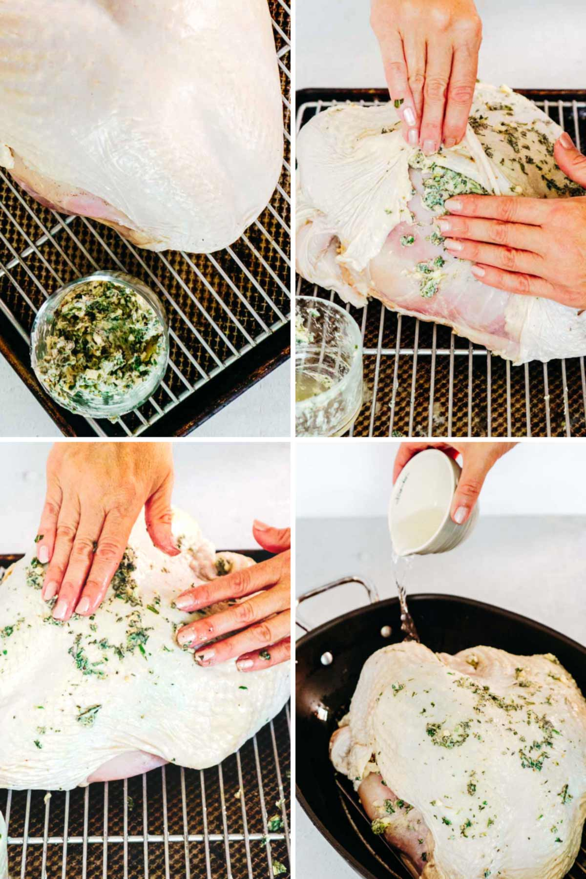 demonstrating how to rub herb butter under turkey breast skin