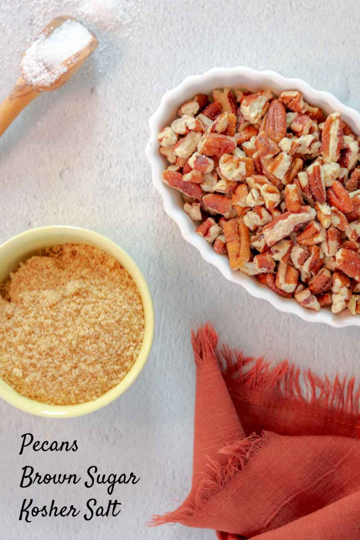 sweet and slaty pecans ingredients on counter