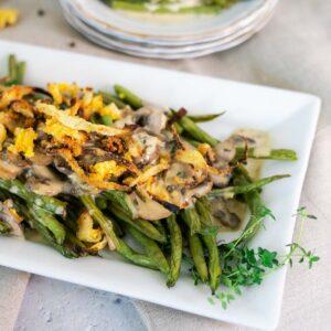 deconstructed green bean casserole on serving platter