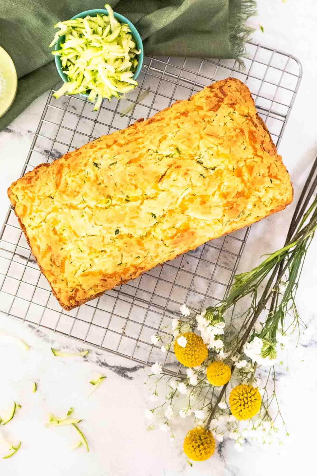 gluten free cheesy bread on wire rack