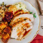 turkey gravy on thanksgiving plate